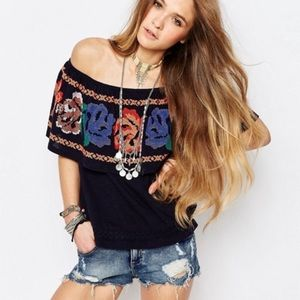 Free people off the shoulder embroidered blouse